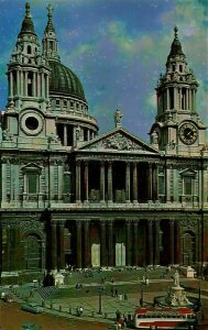 London St Paul's Cathedral Statue Vitnage Cars Postcard