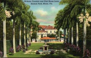 Florida Miami Hialeah Park Widener Fountain and Club House 1945 Curteich