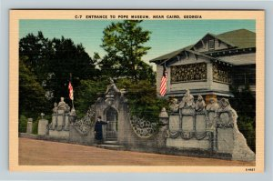 Cairo, GA-Georgia, Entrance To Pope Museum, Linen Postcard