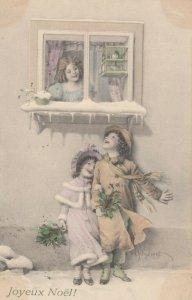 AS; M.M. Vienne Nr 473 (M MUNK), 1910 ; Joyeux Noel!, Children under windowsill