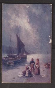 Christmas Greetings With Fisherman & Boats - Unused c1915 Thick Cardboard