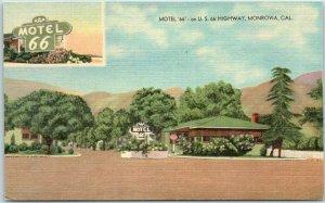 1950s MONROVIA, California ROUTE 66 Postcard MOTEL 66 Roadside Linen Unused