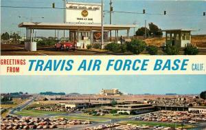 Autos Birdseye California 1940s Travis Air Force Base Postcard Hakanson 3599