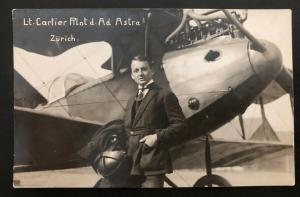 Mint Switzerland Real Picture Postcard RPPC Cartier Pioneer Pilot Early Aviation