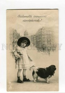 270593 FASHION Little Girl KING CHARLES SPANIEL Vintage PHOTO
