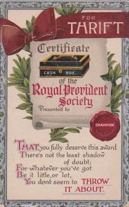 Humour Thrift Certificate Of The Royal Provident Society