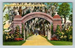 Savannah GA, Bethesda Orphanage For Boys, Entrance, Linen Georgia Postcard X3