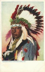 AMERICAN INDIAN CHIEF OMAHA NE UNDIVIDED ANTIQUE POSTCARD