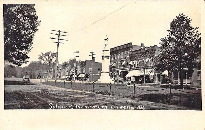 Greene NY Soldier's Monument Business District in 1908 RPPC Postcard