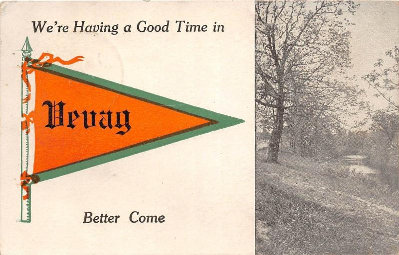 A59/ Vevay Indiana In Pennant Postcard c1910 Having a Good Time