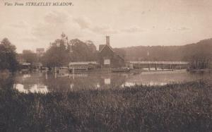 River View From Streatley Meadow Berkshire Antique Postcard