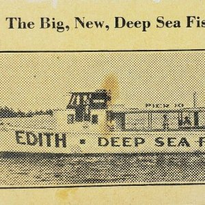 Vintage The Big New Deep Sea Fishing Cabo Boat Ship Edith Business Card Ad 1930s