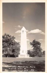 D7/ Muskegon Michigan Real Photo RPPC Postcard c40s Memorial Park World War II