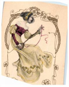 lady playing Mandolin signed M.M.Vienne