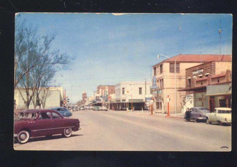 WINSLOW ARIZONA ROUTE 66 1950's CARS DOWNTOWN STREET SCENE OLD POSTCARD
