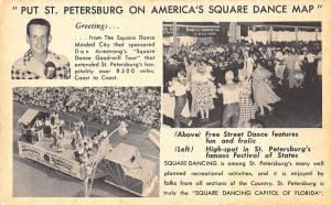 St Petersburg FL Don Armstrong's Square 1953 Dance Good-will Tour Postcard