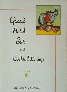 Vintage Grand Hotel Bar & Cocktail Lounge Menu Billings Montana Drinks 25-50 ¢