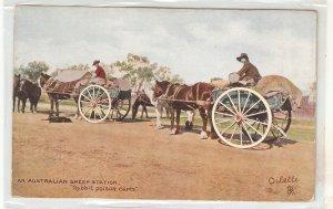 An Australian Sheep's Station. Rabbit Poison Carts Tuck Oikette PC # 9345