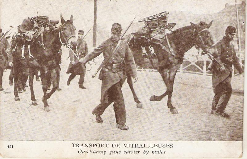 Horses. Military. Transport de Mitrailleuses Antique French postcard