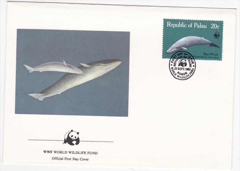Republic of Palau , 1983 , Blue Whale ; Official First Day Cover