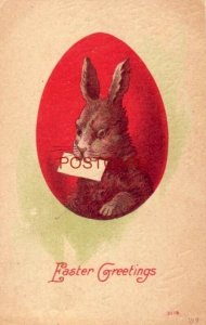 1909 EASTER GREETINGS - rabbit with letter