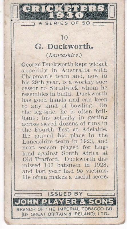 Cigarette Cards Player's Cricketers 1930 No 10 - G Duckworth