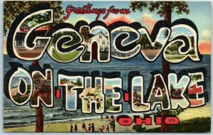 1940s GENEVA ON-THE-LAKE Ohio Large Letter Postcard Curteich Linen 4B-H1284