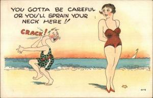 Guy on Beach Spains Neck Looking at 1920s Flapper Girl Bathing Beauty Postcard