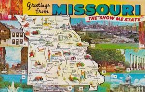 Greetings From Missouri With Map 1963
