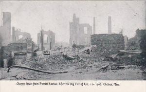 Massachusetts Chelsea Cherry Street From Everett Avenue Big Fire 12 April 1908