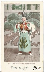 1904 Japanese Lady on Stage Detroit Photographic Company With Laughing Song and