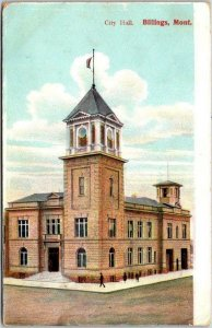 BILLINGS, Montana Postcard CITY HALL Downtown Street Scene / 1908 Cancel