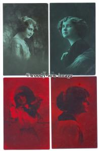 gla0093 - Young Ladies in Portrait, with Red or Green Filters - 4 postcards