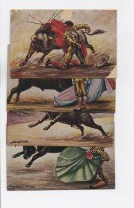 1940s Set of 4 Salvador Carreno Bull Fight Postcards - Mexico Bullfighting
