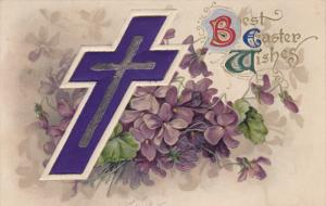Best EASTER Wishes, Double Cross, Violet Flowers, PU-1911