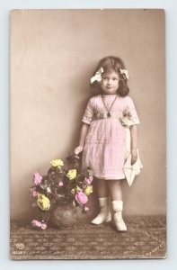 Cute Little Girl with Bows Pink Dress Letter Flowers Hand Painted European RPPC
