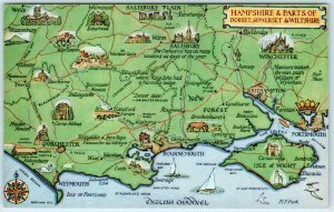 HAMPSHIRE, England UK & Dorset, Somerset...   PICTORIAL MAP Vintage Postcard