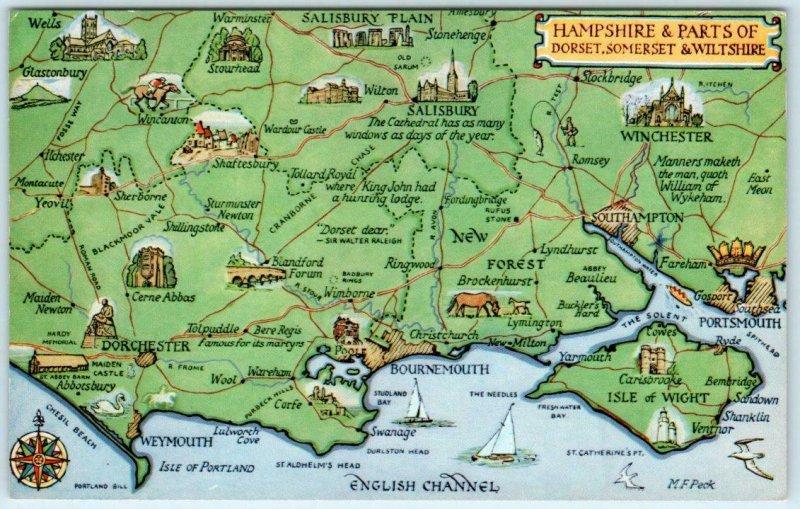 HAMPSHIRE, England UK & Dorset, Somerset...   PICTORIAL MAP Vintage Postcard