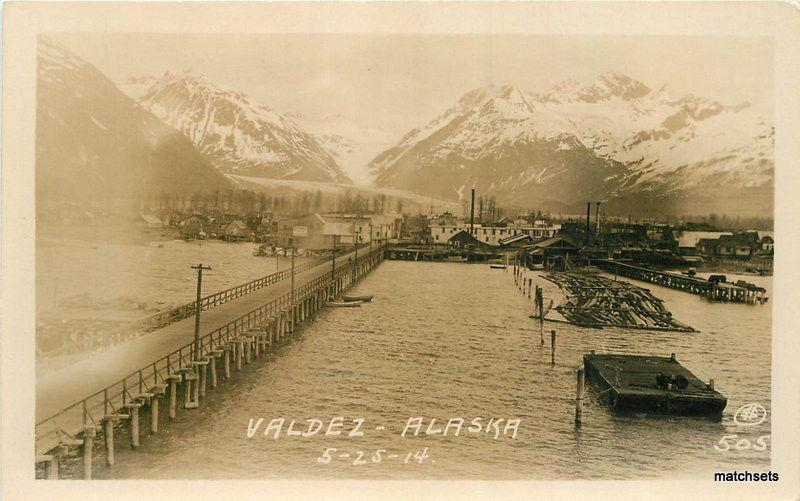 1914 Valdez Alaska Waterfront RPPC Real photo #505 postcard 11910