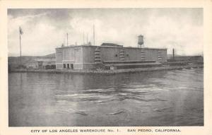 San Pedro California Los Angeles Warehouse Waterfront Antique Postcard K29903