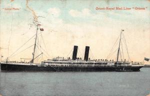 Orient Line RMS Ortona ship ,damaged Postcard