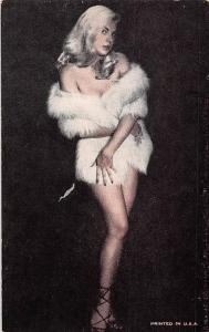 Beautiful Woman, Lady, cute warm fur coat, printed in U.S.A. pin up girl