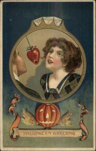 Halloween Scarce Winsch Schmucker? Pretty Woman Bobbing Strawberry Postcard