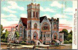 Wichita, Kansas Postcard FIRST BAPTIST CHURCH Artist's Street View / 1909 Cancel