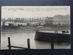 WW1 Belgium Ruines de ZEEBRUGGE No.15 1914 German Submarine paralysed in Harbour