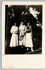 RPPC Trio of Young Ladies Ready to Challenge Somebodies~Tennis Anyone? c1910 PC