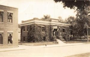 F35/ Grundy Center Iowa RPPC Postcard c1930s Public Library Building