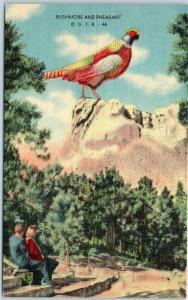 1940s South Dakota Postcard RUSHMORE & PHEASANT Black Hills Linen Unused