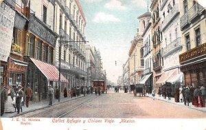 Calles Refugio y Coliseo Viejo Mexico Tarjeta Postal 1931