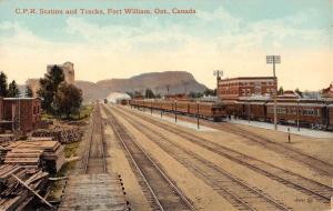 Fort William Ontario Canada Railroad Station Antique Postcard K70818